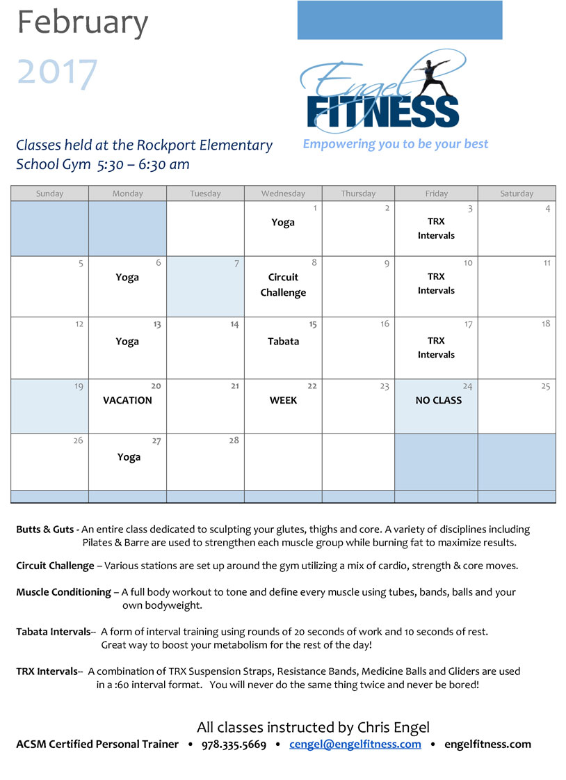 Engel fitness group class schedule class schedule at rockport elementary school 1betcityfo Gallery